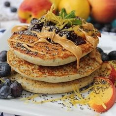 Thick fluffy gluten free and vegan lemon chia seed pancakes!