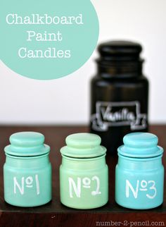 Chalkboard Paint Candles - Did you know that chalkboard paint comes in colors?? Use it to decorate candles, jars and more.