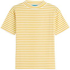 MiH Jeans Striped Cotton T-Shirt (765 HKD) ❤ liked on Polyvore featuring tops, t-shirts, stripes, striped t shirt, white cotton tops, slim tee, stripe t shirt and striped tee