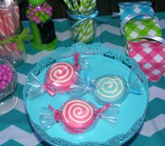 12 Sweet Shoppe Inspired Chocolate Covered Oreo Candy Cookies Candy Bar Whirly Pops Lollipops Candy Party Favors Gumball Birthday Party. $18.00, via Etsy.