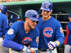 Chicago Cubs ‏ Verified account Mar 26 Just a couple dudes having a candid moment. Kris Bryant and Anthony Rizzo - MLB ( Bryant Baseball, Chicago Cubs Baseball, Baseball Boys, Baseball Players, Baseball Stuff, Chicago Cubs Pictures, Cubs Players, Cubs Win, Sports