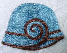 Free knitting pattern for Escargot Cloche hat, knit in one piece with brim and swirl knit flat and then joined as you knit body in the round: designed by Veronica Parsons Knitting Patterns Free, Knit Patterns, Free Knitting, Free Pattern, Yarn Projects, Knitting Projects, Crochet Projects, Knitting Ideas, Knit Or Crochet
