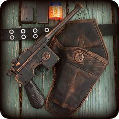oldjunkyardboutique on Etsy - Steampunk airsoft gun with holster (mauser broomhandle c96)