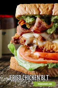 This isn't your mother's BLT! My elevated version features the required bacon, lettuce & tomato and tops it with crispy fried chicken strips. Drizzle it with my spicy jalapeno sauce and plenty of Sriracha-spiced mayo on toasted sourdough bread. Fried Chicken Strips, Crispy Fried Chicken, Breaded Chicken, Chicken Blt, Jalapeno Sauce, Sandwiches, Sourdough Bread, Pork Ribs, Gourmet Recipes