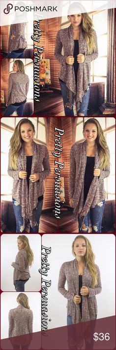 """NWT Open Front Draped Marled Knit Cardigan NWT Open Front Draped Marled Knit Cardigan Available in S, M, L Measurements taken from a small Length: 39"""" Bust: 38"""" Waist: 38"""" Rayon/Spandex/Poly blend Features • cascading/long draped sides • long sleeves • open front • light marled knit • relaxed, easy fit * Also available in Gray/Black in separate listing Bundle discounts available No pp or trades Item # 1/109280360RGMK marled knit Pretty Persuasions Sweaters Cardigans"""