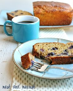 Greek Yogurt Blueberry Banana Bread -- perfect for a weekend brunch! // via Nosh and Nourish