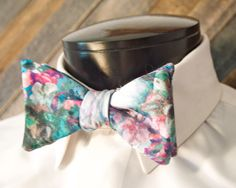 Floral mens bowtie  matching pocket square  by LookForMeBowties