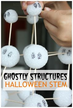 Building Ghostly Styrofoam Ball Structures Perfect Fall and Halloween STEM engineering and building activity for kids.