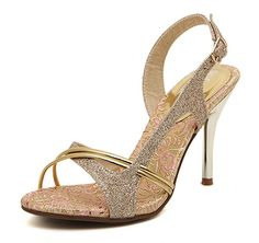 BININBOX Women Gold sequined sandals Open toe Stiletto high heels *** To view further for this item, visit the image link.
