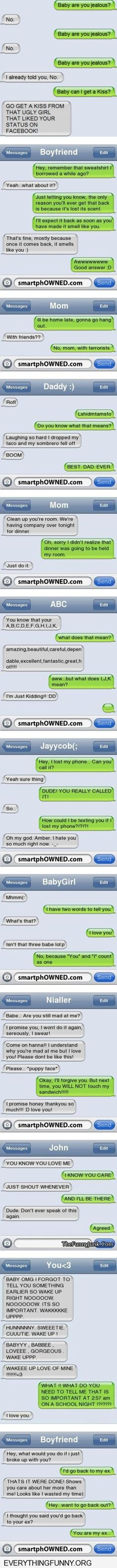 Sweet, cute, rude and funny. That's what these text messages are. #smartphOWNED #Funny #I❤️Pinterest