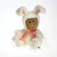 """Hoppity is as cute as can be, an 8"""" bear all dressed up in a white bunny suit, with colorful neckbow ribbons, is all ready for the Easter egg hunt! Hoppy Easter!"""