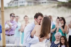 www.courtneyhathaway.com l Outer Banks Wedding, OBX Wedding, Beach Wedding, Destination Wedding, Wedding Photos, Wedding Kiss, first kiss, wedding ceremony, ceremony photos, beach wedding ceremony, bride & groom