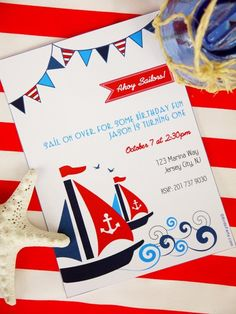 Shop Nautical Birthday Party Printable Invitations | Buy online for birthdays, baby showers, family events, summer, memorial day & 4th of July celebrations!