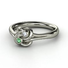 Lover's Knot Ring, White Gold Ring with Emerald