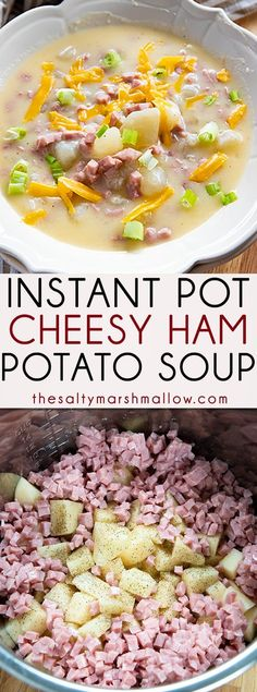Ham and Cheese Instant Pot Potato Soup - Ham - Ideas of Ham #Ham - Ham and Cheese Instant Pot Potato Soup is creamy and indulgent! The easiest baked potato style soup made easy in your instant pot full of tender potatoes ham and plenty of cheddar cheese! #potatosoup #instantpotsoup #instantpotpotatosoup Instant Pot Pressure Cooker, Pressure Cooker Recipes, Pressure Cooking, Slow Cooker, Soup Recipes, Cooking Recipes, Healthy Recipes, Skillet Recipes, Pizza Recipes