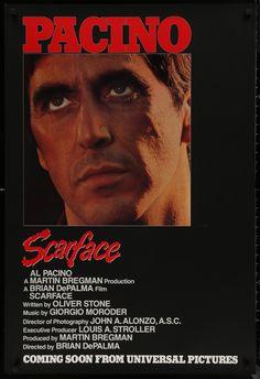 Scarface Poster, Scarface Movie, Sunday Movies, Good Movies, Amazing Movies, Original Movie Posters, Film Posters, Paul Shenar, Songs