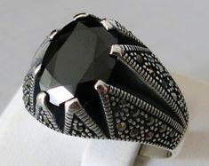 Handmade Black Agate Stone 925 Sterling Silver Men's Ring #868