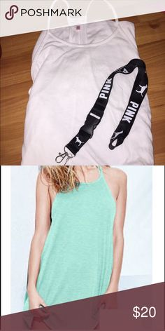 Victoria secret white tank dress and lanyard Brand new...tank dress shown in second pic for reference on fit. Size XS but fits big Victoria's Secret Dresses