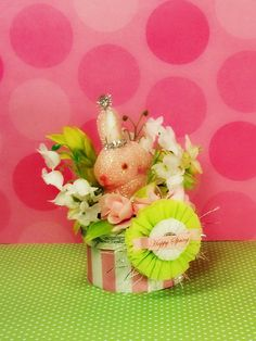 vintage inspired Happy Spring Bunny box by sugarcookiedolls, $24.00