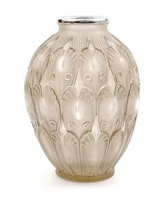 Frosted grey glass vase with silver colored metal rim, executed by Val St.Lambert / Belgium ca.1925. Height: 25.3 cm. / 10 inches; Diameter:  18.2 cm. / 7.2 inches