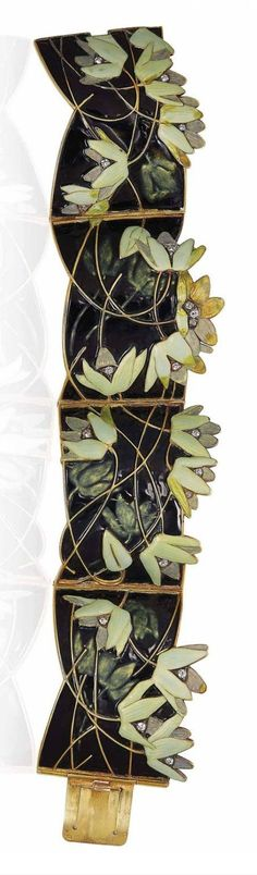 RENÉ LALIQUE - AN ART NOUVEAU ENAMEL AND DIAMOND BRACELET, 1902-04. The three articulated curved panels in black enamel, applied with green and yellow wood anemones and diamond accents, with French assay marks for gold, signed Lalique, with maker's mark for René Lalique.