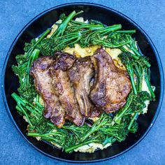 Sticky Soy & Ginger Pork Chops with Wasabi Mash Mob Kitchen, Asian Recipes, Healthy Recipes, Ginger Pork, Peeling Potatoes, Pork Chops, Cooking Time, Broccoli, Steak