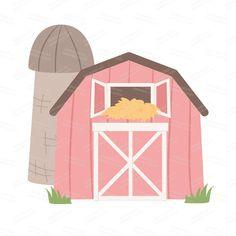 Premium Farm Animals Clip Art & Vectors Farm by AmandaIlkov Cute Donkey, Cute Sheep, Cute Cows, Cute Horses, Chicken Clip Art, Chicken Vector, Sheep Vector, Cow Vector, Horse Clip Art