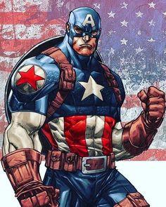 Captain America by Comic Book Artwork Marvel Dc Comics, Dc Comics Art, Marvel Art, Marvel Heroes, Marvel Avengers, Heroes Comic, Captain America Comic, Capitan America Marvel, Captain America Drawing