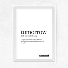 Tomorrow true definition Printable Funny Print door PrintsByDuo