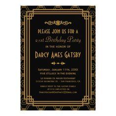 Art Deco Birthday Party Invitations
