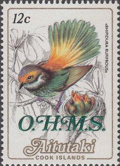 Stamp: Rufous Fantail (Rhipidura rufifrons), overprinted O.H.M.S. (Aitutaki) (Ohms) Mi:CK-AI D20,Sn:CK-AI O20