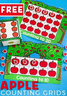"""Get preschoolers excited about counting with this fun apple counting grid game set that goes perfectly with the book, """"Ten Apples Up on Top""""! Practicing counting skills is so much fun when you play a game! Grab your free printable for these apple counting grids today! #countingactivities #countinggrids #applegames #countinggames #freeprintable #preschoolgames #preschoolmath #countingto20 Preschool Apple Theme, Apple Activities, Autumn Activities For Kids, Counting Activities, Preschool Learning Activities, Math Games, Preschool Activities, Preschool Apples, Kindergarten Math"""