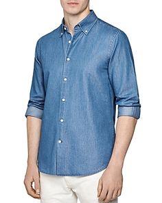 Reiss Tapper Regular Fit Button-Down Shirt - Blue Denim Button Up, Button Up Shirts, Reiss, Button Downs, Men Casual, Mens Fashion, Fitness, Mens Tops, Shirt Men