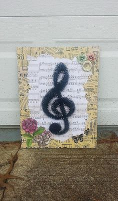 "14""x18"" Treble Clef Music String Art Mais"