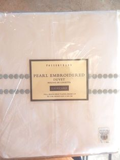 "NEW Pottery Barn Pearl Embroidered Full / Queen Duvet Cover Green 92"" x 88"""