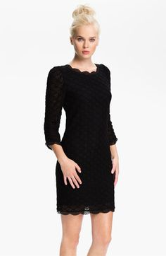 scalloped black lace dress