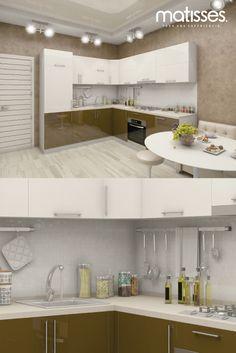 Cocina moderna con paleta de color beige y acentos marrones