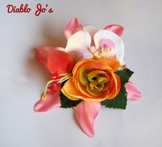Fruity Peach hair flower,Pink Lily, Rockabilly, Pin Up, Vintage Hair by DiabloJos on Etsy