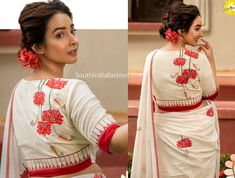 Embroidered Blouse Collection, Festival Collection, Embroidery blouses, Durga Puja Festive Blouses from Sayanti Ghosh Collection Wedding Saree Blouse Designs, Saree Blouse Neck Designs, Fancy Blouse Designs, Kurti Neck Designs, Blouse Patterns, Wedding Sarees, Neck Designs For Suits, Wedding Dress Necklines, Indian Designer Outfits
