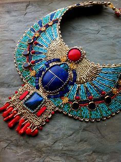 Turquoise and Coral - CUSTOM ORDER - Egyptian Scarab Necklace, Lapis, Coral, Gold Plate, Glass, Bead Embroidered Collar Necklace by LuxVivensFashion on Etsy
