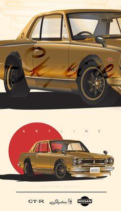 Nissan Skyline GT-R Hakosuka - Illustrations on Behance Gtr Nissan, Nissan Skyline Gtr R32, Japanese Legends, Japanese Domestic Market, Datsun 510, Automotive Art, Japanese Cars, Concept Cars, Custom Cars