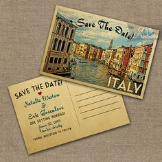 This DIY vintage travel Save The Date postcard features Venice, Italy in fun mid-century retro style.    The matching Wedding Invitation is here: