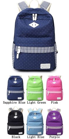 ee60b6115ee Leisure Travel Outdoor Sports Women Backpack Polka Dot Stripe College  Canvas Backpack  feather  dot