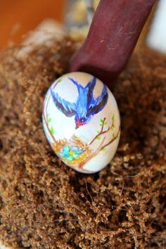 Bird flying to Nest -- Watercolor on Egg  Easter Egg Tree; Nora's Nest  See full post @ http://www.norasnest.com/2014/04/easter-egg-tree.html#more