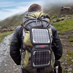 We have this & it's pretty awesome! Smartphone chargers...  Great for when you are hiking, so you can get your fix of angry birds in the tent.  Or is you use it as a camera! #hiking #camping #solar