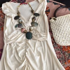 Statement Necklace One of a kind Brass & beaded necklace w/large stones that have an agate look.  This is a substantial piece & looks amazing paired w/jeans & a solid shirt or blouse.  All of these items shown here are in my closet.  Bundle & save 20%! Jewelry Necklaces