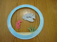 Fish bowl door decs - too cute! I could use plastic wrap for the water/bowl...