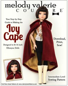 For the modern, history-loving doll, the Ivy Cape, designed to fit Ellowyne Wilde Dolls, is a must-have winter accessory. Full of delicacy, old-world charm, and undeniable elegance, it will keep your doll warm and cozy while she scampers from woodside rambles to holiday parties.This densely gathered cape features a m