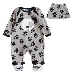 Unisex Baby Puppy Paw Prints Jumpsuit. 30% proceeds from every purchase goes to animal charities.
