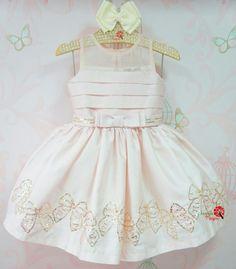 Vestido de Festa Infantil Rosa Laços Petit Cherie